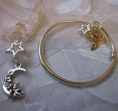 "Baby Bangle/925 Chain 16""star+BABY/ANGEL MOON STAR/Ina Box(ref2of2)"