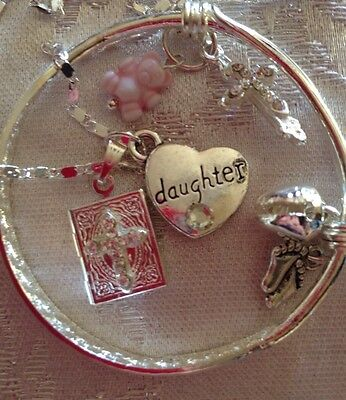 """Child Bangle &charms/DAUGHTER Heart&Locket&st Sil 18""""Chain(ref 2of2)"""