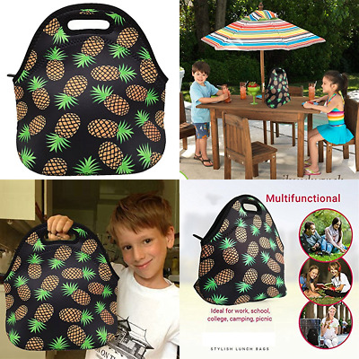 8fc5d03930bb NEOPRENE LUNCH BAG Lunchbox Pineapple School Insulated Tote Adults Kids  Picnic W