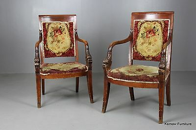 Pair Antique French Charles X Dolphin Open Arm Chairs