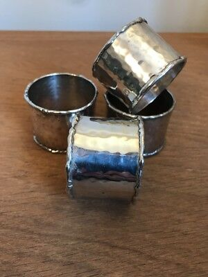 Vintage Napkin Rings Art Deco Hammered (X4 Rings)