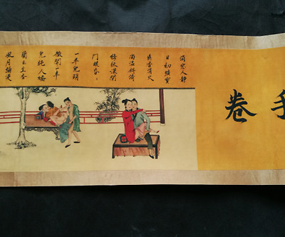 Collectible Decorated Old Handwork chinese Spring Palace Paintings Man Scroll