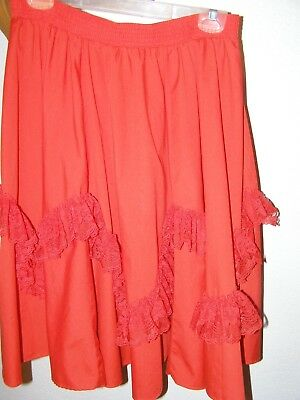 Square Dance Skirt Size Large Waist 28-40 Red With Lace Partners Please