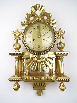 Swedish Vintage Antique Gilt Wall Clock 8 day (Westerstrand Rococo Mora era)