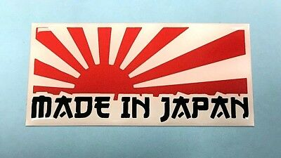1 x MADE IN JAPAN RISING SUN Sticker/Decal RED & WHITE - 75mm - GLOSS DOMED GEL