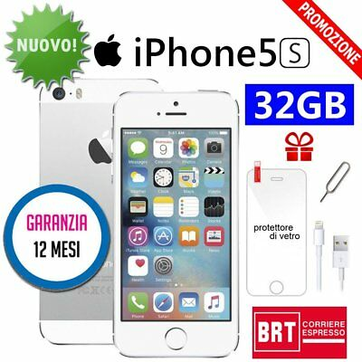 Nuovo Apple Iphone 5S 32Gb Argento Silver + Accessorie + Garanzia 12 Mesi It