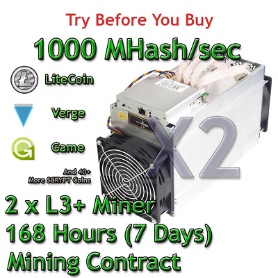 2 x Bitmain Antminer L3+ 1000 MHash/sec Guaranteed 7 Days Mining Contract Scrypt