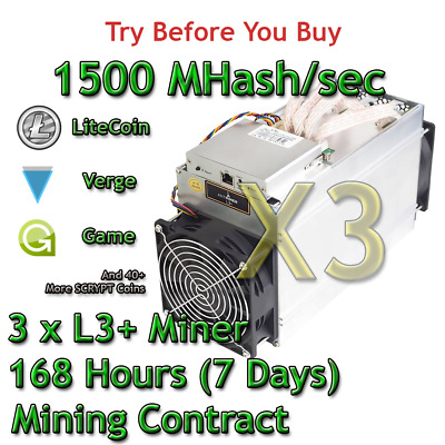 3 x Bitmain Antminer L3+ 1500 MHash/sec Guaranteed 7 Days Mining Contract Scrypt