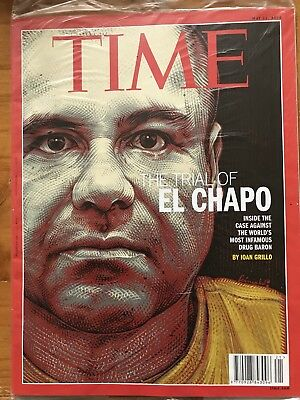 New Sealed TIME Magazine, TRIAL OF EL CHAPO, Drug Baron, Narcos, 2018 May, RARE