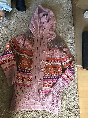 M & S Girls Knitted Jacket Heavy Cardigan With Hood Good Condition Age 11-12
