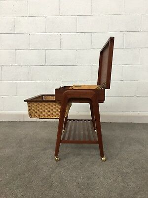 Danish Teak Sewing Table / Basket By POVL DINESEN - MCM Side / Occasional Table