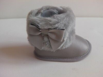 Baby Girl Soft Sole PU Huggy boot with faux fur ankle trim and side bow