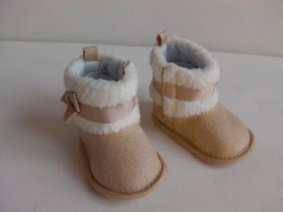 Baby Girl Soft Sole faux suede Huggy boot with fleece ankle trim and side bow