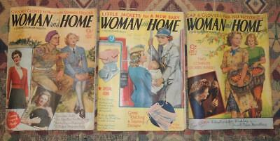 3 Vintage WOMAN and HOME Magazines from World War 2 - July, Aug & Sept 1943