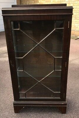 Sideboard Cupboard Cabinet Glass Display Glass Shelves Brown Wood