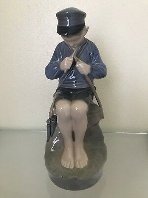 Royal Copenhagen Figurine Boy Whittling Fishing Rod # 905