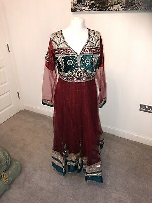 Anarkali Red Indian Pakistani Wedding Dress Churidaar Salwar Kameez Lengha