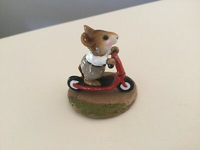 Wee Forest Folk M-152 Scooter Mouse with TAN PANTS Retired/MINT