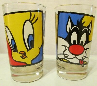 Tweety Bird & Sylvester Pepsi Glass Vintage 1994 Excellent Condition Set of 2