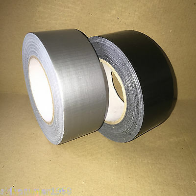 Silver or Black Duck Duct Gaffa Gaffer Waterproof Cloth Tape 50mm x 50m 6 Rolls