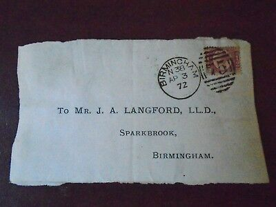 QV Bantam half d stamp with Birmingham cancellation code and postmark 1872