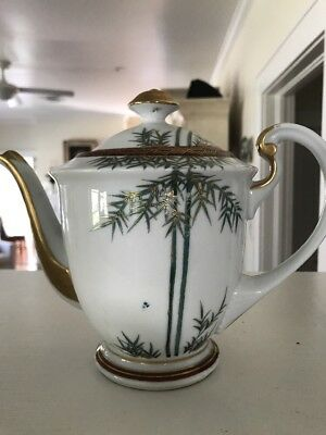 Vintage Porcelain Japanese Raised Gold w/Gilded Moriage Beaded Tea Pot - No Lid