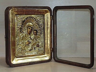 Antique 19th  Russian Hand Painted Wooden Icon Mother of God kiot