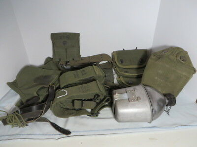 WW2 US Army Field Gear lot of 9 items, Belt, straps Grenade pouch, Canteen More