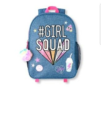 1dd78eb5f8af Childrens Place Girls Embellished  Hashtag Girl Squad  Denim Backpack