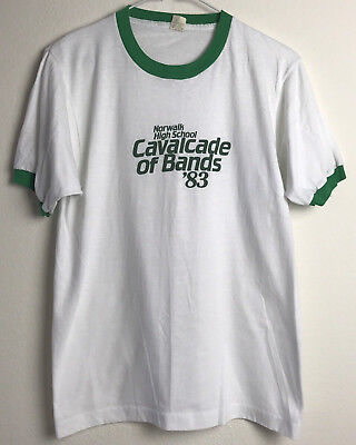 Vintage 1983 High School Band White Green Ringer Tee Size M