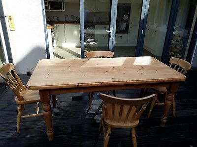 Large Solid Pine, Farmhouse Kitchen, Dining Room Table with 4 chairs