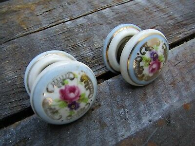 2 Salvaged Edwardian Style Small Rose Ceramic Door Handles  related to rim lock