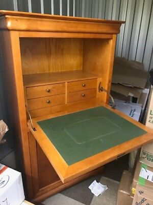 Bureau Desk Cabinet Cherrywood with Green Leather