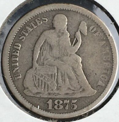 1875 s - 1876 s - 1887 s Seated Liberty Dime San Fran Group 10c