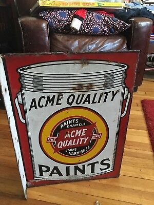 Vintage Acme Quality Paint Double Sided Porcelain Enamel Sign