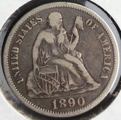 1888 - 1889 - 1890 Seated Liberty Dime Philly Group 10c