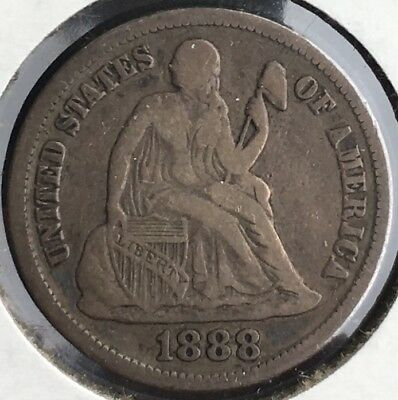 1888 s  Seated Liberty Dime 10c Choice VF!