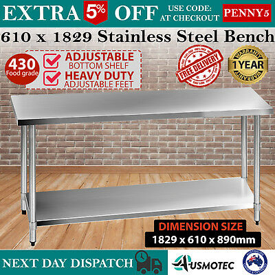 430 Stainless Steel Bench Table Commercial Food Grade Kitchen Work Prep NEW