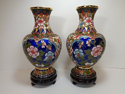 Matching Pair of Chinese Cloisonne Champleve Enamel Vases with Bases