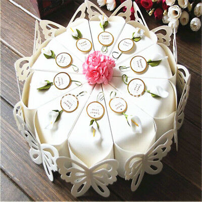 POPIGIST® 50pc/Set Creative Sweet Butterfly White Cake Candy Boxes Flower Tags