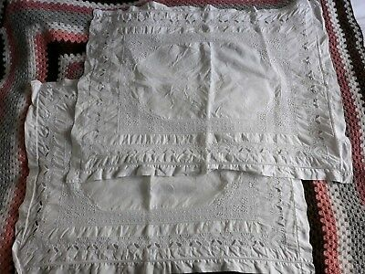 Antique Linen Whitework Pillowcases Pair