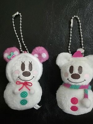 Disney Mickey Minnie Mouse Plush Christmas Snowman Ornaments Set  2""
