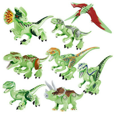 8Pcs Jurassic World Park Noctilucent Dinosaur Building Blocks Mini figure Toys