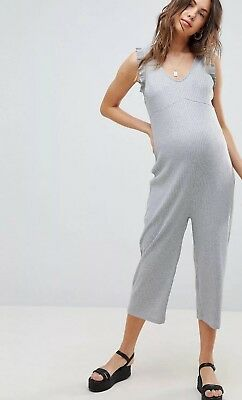 New Cool 'Supermom' at ASOS Maternity Grey Frilled Jumpsuit Cropped S 10 BNWOT