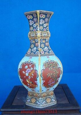 230mm Collectible Handmade Painting Cloisonne Porcelain Vase YongZheng Mark Deco