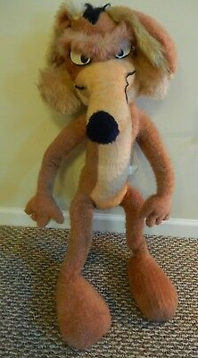 "VNTG Wile E Coyote 1971 Large Plush Stuffed 41"" Tall Warner Brothers Mighty Star"