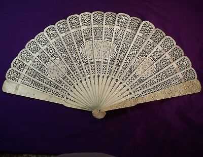 ANTIQUE CHINESE BRISE FAN fine CARVED BOTH SIDES detailed people in ovals c1880.