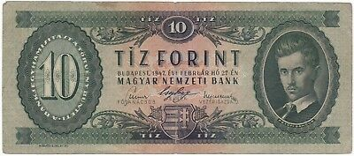 HUNGARY 10 forint 1947 F+ key date Kossuth coat of arms P-161