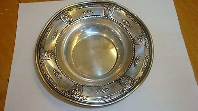 """Vtg Wallace Rose Point sterling silver small wavy bowl dish 6 1/2"""" 1934 vgd cond"""
