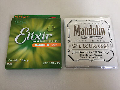 Elixir and D'Addario Mandolin Strings. NEVER USED